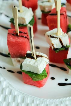 Make Mini Bite-Sized Strawberry Entertaining & party recipes  -Feta Skewers for your summer pool parties using this easy + healthy recipe.