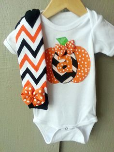 Baby Girl Halloween Outfit - My lil Pumpkin - personalized onesie, chevron leg warmers - black, green, and orange on Etsy, $32.99