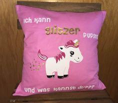 Kissen - Kissen Einhorn Pupsi Ich kann Glitzer pupsen pink - ein Designerstück von Made-by-Aljasa bei DaWanda