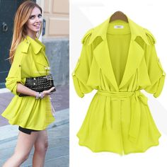 Casual Single-breasted Turndown Collar Half Sleeves Yellow Long Trench