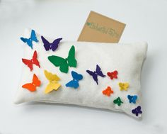 Rainbow Butterflynursery pillow