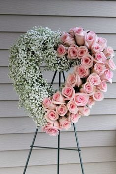 This baby's breath and rose open heart wreath is the perfect arrangement for a mother or sister's funeral or memorial service. Church Flowers, Funeral Flowers, Wedding Flowers, Deco Floral, Arte Floral, Floral Design, Ikebana, Funeral Floral Arrangements, Funeral Sprays
