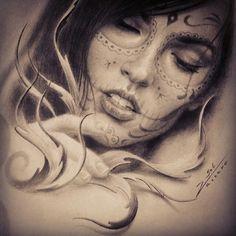 Chicano art                                                                                                                                                      Mehr La Muerte Tattoo, Catrina Tattoo, Sugar Skull Girl, Sugar Skulls, Day Of The Dead Girl, Chicano Love, Lowrider Art, Chicano Tattoos, Geniale Tattoos