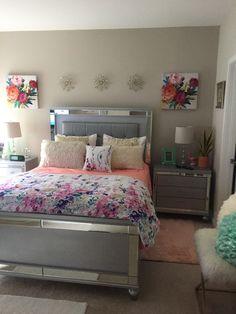 My Bedroom ..my decor came from #Homegoods #Overstock #Burlington amd #Marshall #floral comforter