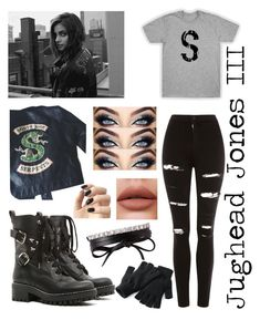 """Jughead Jones III as Southside Serpent Girl Version Inspired Outfit"" by veofficial ❤ liked on Polyvore featuring Fallon, Topshop, RED Valentino and Incoco"