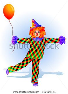 funny clown with a ball in a bright dress with diamonds