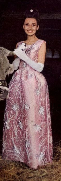 Audrey Hepburn, great color photo, love her gown