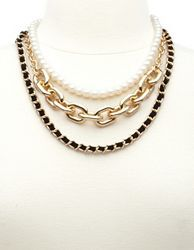 Pearl, Suede, & Chain Layered Necklace