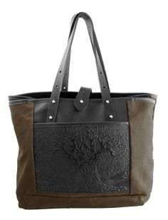 Waxed Canvas and Leather Everyday Tote | Tree of Life | Oberon Design