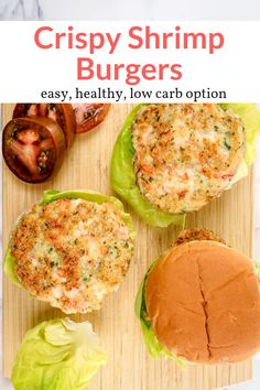 Crispy Shrimp Burgers – Slender Kitchen The most delicious crispy shrimp burgers that are light, healthy, and ready in under 15 minutes! You will absolutely love these seafood burgers. Fish Recipes, Gourmet Recipes, Dinner Recipes, Cooking Recipes, Healthy Recipes, Cooking Rice, Steak Recipes, Dinner Ideas, Chicken Recipes