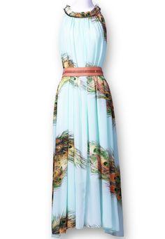 Light Green Sleeveless Feather Print Belt Silk Dress