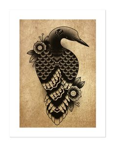 Loon, Wildlife Traditional Series, Traditional Tattoo Flash, Old School, Art Print Painting Inspiration, Tattoo Inspiration, Loon Tattoo, Herb Tattoo, Pumpkin Tattoo, Inuit Art, Nature Tattoos, Native Art, Ceramic Painting
