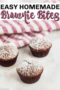 Mini Brownie Bites Recipe will be a hit with everyone! This mini brownie recipe is tasty and topped with powdered sugar. Try the best brownie bites recipe! Mini Muffin Brownies Recipe, Two Bite Brownies, Mini Brownie Bites, Brownie Bites Recipe, Mini Brownies, Homemade Brownies, Best Brownies, Healthy Brownies, Brownie Desserts