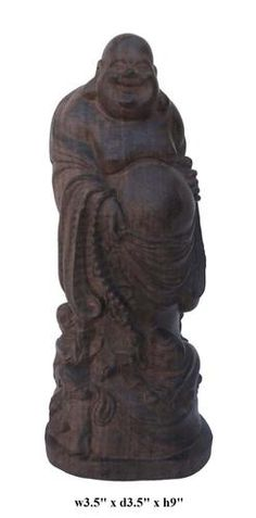 Agarwood is famous for its distinctive fragrance and It is commonly used in religious items.  This happy Buddha statue is made of agarwood and carved in a round. It is a prayer's item and also collectable.