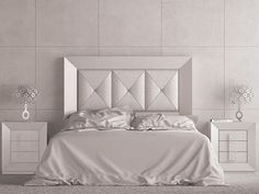 Mitre joint padded and upholstered heaboard with Swarovski buttons. Bed Headboard Design, Bedroom Bed Design, Modern Bedroom Design, Headboards For Beds, Quality Furniture, Online Furniture, Bedroom Furniture, Furniture Design, Tile Bedroom