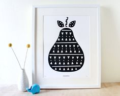 Pear Art, Scandinavian Print, Screenprint, Geometric, Black. $30.00, via Etsy.