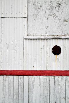 Jordan Iverson: 16x20 White Red Stripe Urban Abstract Fine Art Canvas Print