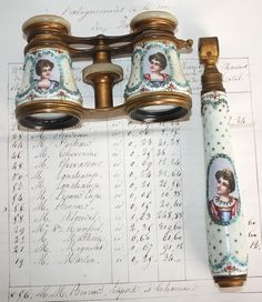 Mid 19th century French Enameled Opera Glasses with detachable handle