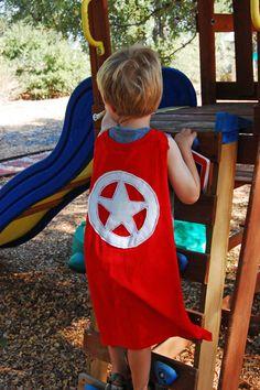 Superhero cape using old t-shirt, no sewing