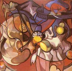 Stanisław Ignacy Witkiewicz (Witkacy) - Martwa natura z zegarem - malarze.com -- Sztuka Polska i Malarze Polscy - Malarstwo Polskie i Polscy Malarze - Galeria Malarzy Polskich
