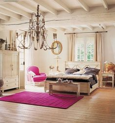 Such a clean looking room! Switch out the pink with a deep purple!