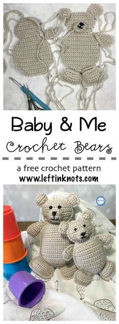 These rag doll teddy bears are an adorable gift for new baby and big brother/sister! Perfect for little hands to hug and snuggle, this free crochet pattern will give you instructions for both the large and small bear.
