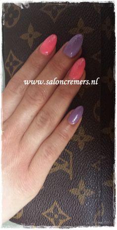 almond shape nails neon pink and lila glitter nails nail art