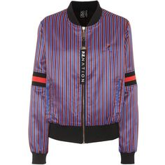 P.E Nation The Relentless Satin Bomber Jacket (€295) ❤ liked on Polyvore featuring outerwear, jackets, blue, satin jackets, striped bomber jacket, blue satin jacket, bomber jackets and striped jacket