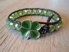 """Your place to buy and sell all things handmade - Green leather bracelet """"Irish Pride"""", green shamrock clover, St. Patrick's Day, peridot green - Tiffany Jewelry, Do It Yourself Jewelry, Irish Pride, Irish Jewelry, Irish Girls, Irish Celtic, Green Leather, Shades Of Green, Jewelery"""