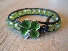 Green leather bracelet - green shamrock clover, St. Patrick's Day, peridot green, irish celtic jewelry, lucky good luck charm