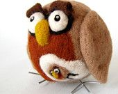 """Pregnant - Needle Felted """"She is Expecting"""" Owl - Wool Hoot Mom - Mothers Day - Ornament"""