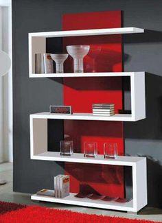 Resultado de imagen para estanterias modernas #MuralesParaPared Bookshelf Design, Wall Shelves Design, Wood Shelves, Home Decor Furniture, Diy Home Decor, Room Partition Designs, Home And Living, Living Room Decor, Google