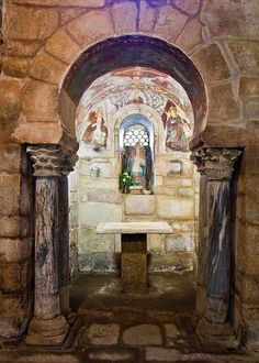 7th-9th century Visigothic church - Santa Comba de Bande. Ourense. Spain