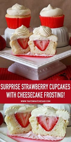 Surprise Strawberry Cupcakes with Cheesecake Frosting - That's What Che Said. - Best Cupcake Recipes - Surprise Strawberry Cupcakes with Cheesecake Frosting at www.thatswhatches… You are in the right p - Just Desserts, Delicious Desserts, Dessert Recipes, Yummy Food, Gourmet Cupcake Recipes, Easter Recipes, Cupcake Recipes From Scratch, Dinner Recipes, Cheesecake Frosting