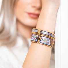 Just a click away from the beginning of something new. Put on our famous clasp bangles and hear its latch snap into place with a soft 'click'. Alphonse Mucha, Bangles, Bracelets, Bracelet Designs, Put On, Valentine Day Gifts, Jewels, Classic, Design Inspiration