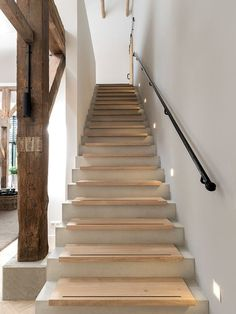 Reconstruction of a monumental farm in Zwolle Modern Staircase, Staircase Design, Interior Stairs, Interior And Exterior, Concrete Stairs, House Stairs, Stairways, Home Deco, Future House