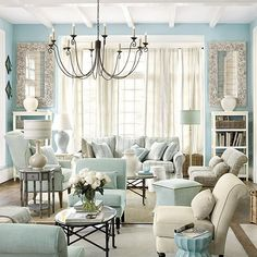 Pretty aqua living room from Ballard Designs. Living Room Turquoise, Blue Living Room Decor, Living Room Colors, Living Room Paint, Home Living Room, Living Room Designs, Living Room Furniture, Blue Bedroom, Bedroom Decor