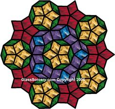 Stained Glass Pattern: Penrose Rhombi