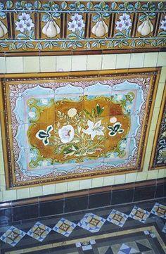 Victorian floral tiles on wall in Wolverhampton Victorian Porch, Victorian Tiles, Victorian Bathroom, Antique Tiles, Minton Tiles, Art Nouveau Tiles, Wolverhampton, Tiling, Wall Tiles