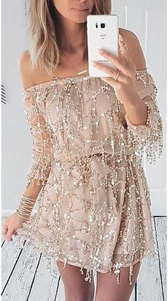 ♡ Sexy Off Shoulder Sequin Tassel Party Dress ♡