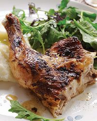 Quick-Roasted Chicken with Mustard and Garlic.  This looks tasty....
