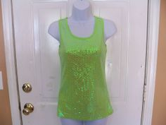 Balera Bright Green Sequence Tank Top Size S Women's  EUC #balera #TankCami #Casual