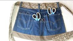 Sewing Tips Helpful Hints Upcycle/recycle old jeans article with links to projects. You probably can't make insulation, but lots of other useful DIY ideas for re-using your jeans from Levi Strauss Sewing Jeans, Diy Jeans, Sewing Aprons, Sewing Clothes, Diy Clothes, Denim Aprons, Jean Crafts, Denim Crafts, Jean Apron