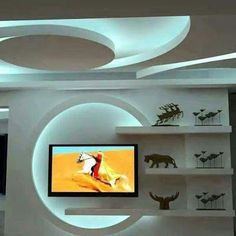 Best drywall gypsum wall design ideas for tv in living rooms Wall Unit Designs, Living Room Tv Unit Designs, Tv Wall Design, Interior Design Living Room, Tv Wall Decor, Ceiling Decor, Ceiling Ideas, Ceiling Lights, Deco Tv