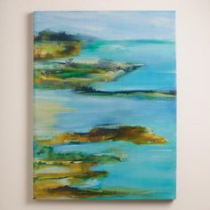 "An abstract island landscape radiates in Deborah Brenner's painting titled ""Far and Away."" Influenced by Japanese art and philosophy, Brenner utilizes inks, pastels, oils and acrylics to create her works, which express joy and hope."