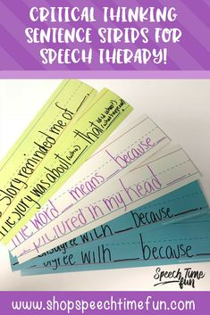 sentence strips for critical thinking skills in speech therapy