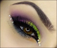 neon green & purple #eye #makeup #eyeshadow #smokey #dramatic