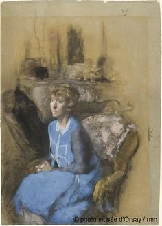 The blue lady 1925 Vuillard Pastel on gray-blue paper discolored Orsay Museum