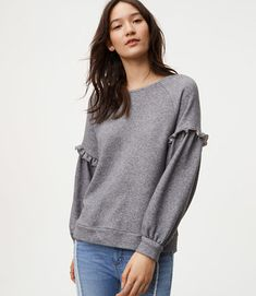 Shop Now - >  https://api.shopstyle.com/action/apiVisitRetailer?id=671347650&pid=uid6996-25233114-59 Ruffle Sleeve Sweatshirt  ...