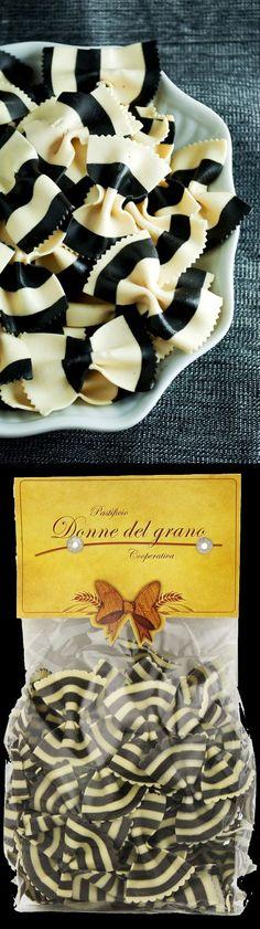 For your Tim Burton Halloween Party: here is black & white stripe bow tie pasta! Burton-esque perfection!